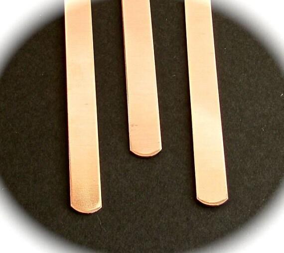 "5 Cuffs - 1/2"" x 7"" Copper or Jeweler's Brass 18 Gauge Tumble Polished or RAW Bracelet Blanks  - Qty 5 - FLAT"