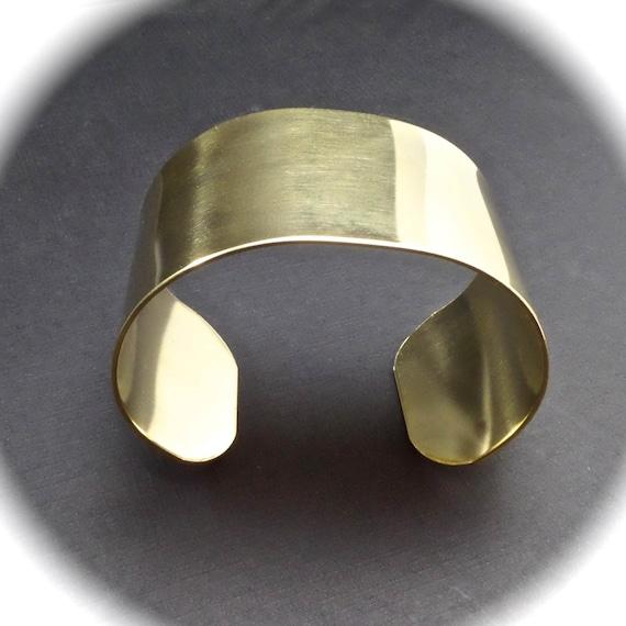 "5 Cuffs - 1-1/2"" x 6"" Jeweler's Brass Bracelet Blank Cuff 18 Gauge Tumble Choose Polished or RAW - Qty 5 - FLAT Blanks"