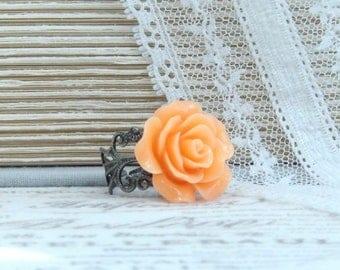 Orange Flower Ring Resin Rose Ring Orange Rose Ring Orange Floral Ring Adjustable Ring