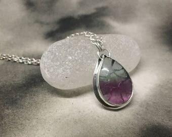 Two toned fluorite and sterling silver window pendant, handcut design, aqua green and purple teardrop