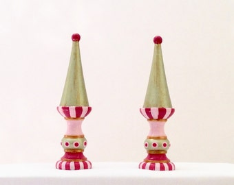 French Bohemian Finials Painted in Fuchsia and Peridot Green and Gold - Home Decor Gift Pair