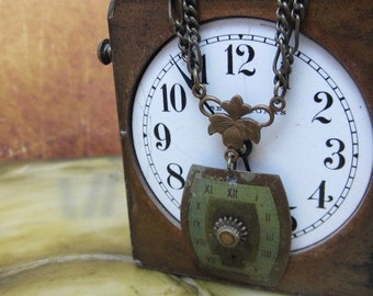 "Steampunk jewelry necklace- ""Springtime"" - Watch Face - Pendant- Necklace - Upcycled wearable art"