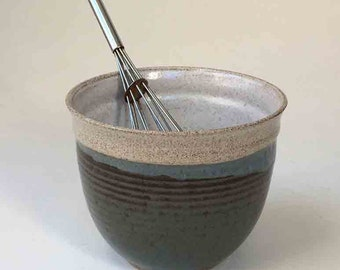Ready to Ship Whisking Bowl, Deep Soup Bowl, Pho Bowl, Blue Gray and Brown with Speckled White Food Prep Bowl, Stoneware Mixing Bowl