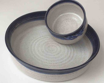 "SHIPS FAST Stoneware Baking Set of 2, Deep Blue and Speckled White, 10"" Baking Dish, 2 Cup Appetizer Crock, Handmade Wedding Gift for Her"