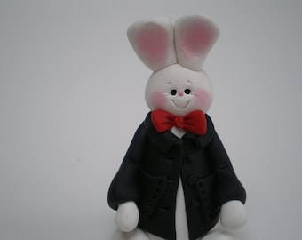 Boy Easter Bunny Rabbit -Polymer Clay by Helen's Clay Art