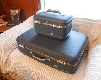 Vintage blue set of Samsonite Tiara large suitcase and Tourister train case