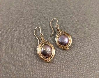 Freshwater Coin Pearl Pod Earrings in Gold-Fill