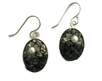 Mosaic Earrings - Pearl, Pyrite and Tourmaline