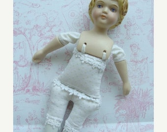 ON SALE Gorgeous Shabby Chic Vintage Hand Painted Porcelain Shackman Doll