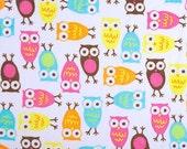 SALE - Night Owl Carnival - Minky Owl Fabric - Night Owl Minky - Cuddle Minky from Shannon Fabrics - 1 yard - Pink Owls, Aqua Owls, Yellow