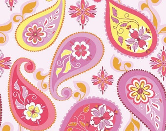 SALE FABRIC - Splendor fabric, Splendor Pink Paisley, Riley Blake Designs - c3911 - Cotton Fabric - Pink Paisley Fabric
