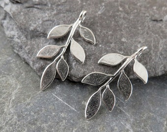 Sterling Silver Leafy Branch Charms - One Pair - clb