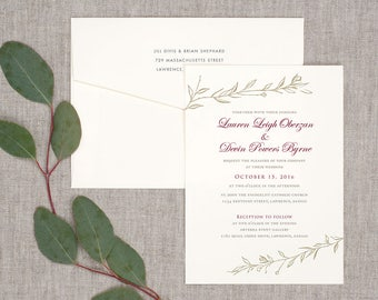 Simple Sprigs Wedding Invitations - Classic Timeless Floral Vintage