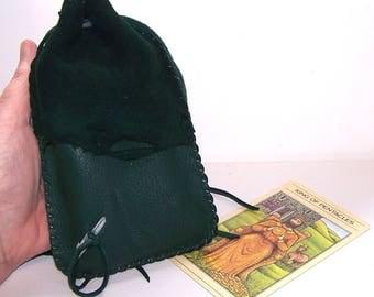 Drawstring Tarot Bag...Leather Medicine Bag / Runes Bag....GREEN
