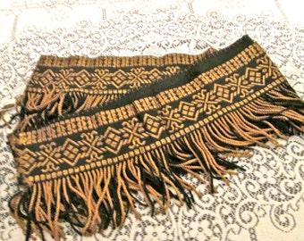 One Yd. Antique Upholstery Fringe/Trim/ Embroidered Silk Fringe/ Embellish/DIY/Sewing/Black and Gold/ Luxurious Fringe