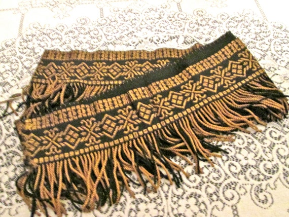 One Yd Antique Upholstery Fringe Trim Embroidered Silk