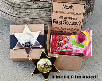Ring POP ~ Ring Security Will You Be My Ring Bearer Boxed Invite Time To Suit Up Rustic POP the Question Badge