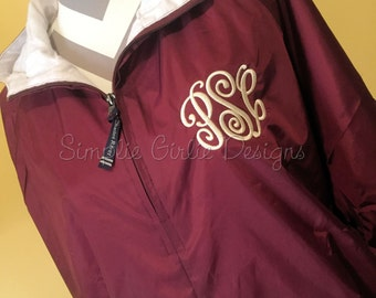 Monogrammed Charles River pullover. Fully lined. Your choice of jacket color, monogram color and monogram style.