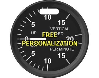 Vertical Speed Indicator Pilot Personalized Luggage Bag Tag