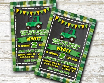 Tractor Birthday Invitation, John Deere Birthday Invitation, Farm Birthday Invitation, Tractor Party, Farm Birthday Party, Boys Birthday