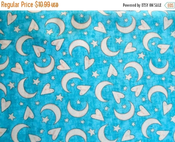 Sale blue moon and stars fabric quilting by for Moon and stars fabric