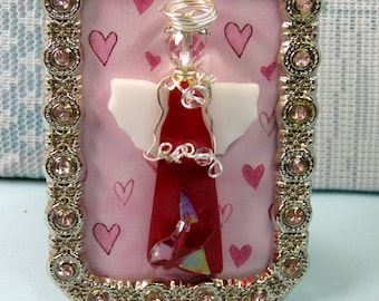 """Small 3 3/8"""" CHERRY Red HEART ANGEL, Artist Framed Art Glass-Kiln Fired Glass-Wire Wrapped-One of a kind"""