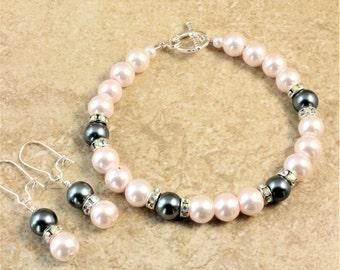 Blush Light Pink Gunmetal Gray Silver Wedding Bracelet and Earrings Set Bridal Bridesmaid Bride