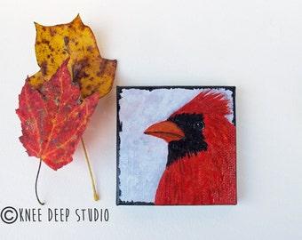 Cardinal Miniature Painting 3x3 fine art mini acrylic on canvas Red Bird Songbird Art Shelf Decor Desk Decor Wildlife Nature Art Gift