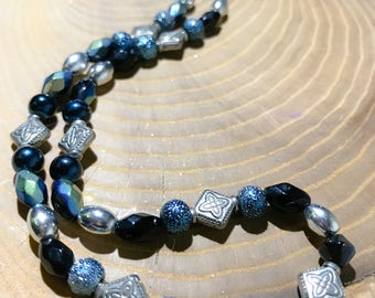 Black Blue Silver Glass and Metal Beads Beaded Choker Necklace