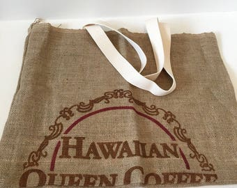 Burlap Tote/ Hawaiian Queen Coffee/ Beach Bag/ Market Bag