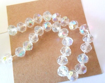 Rose Cut Crystal AB Czech Firepolish Glass 6mm  Beads, Set of 25
