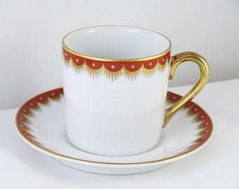 Vintage Fitz and Floyd white red hand painted demitasse cup and saucer / porcelain / china / bone china / tea / coffee / espresso