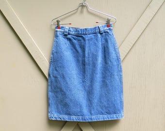 vintage Calvin Klein High Waist Medium Wash Denim Pencil Skirt /Calvin Klein Sport