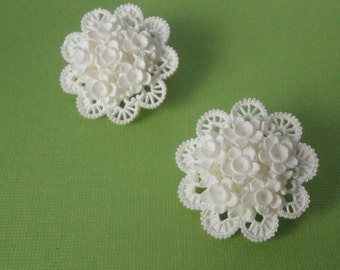 Vintage Featherweight/ Featherlight /Wedding Cake Flower Earrings.
