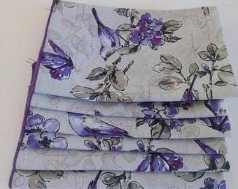 Cloth Napkins Gray, Lavender and Purple