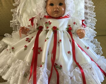 DRESS Red Roses Embroidered Organza for REBORN Doll or NEWBORN Baby 19 inch