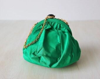 Green Evening Purse Bag / 1940s Formal Handbag / Chain Handle / Small Pouch Purse