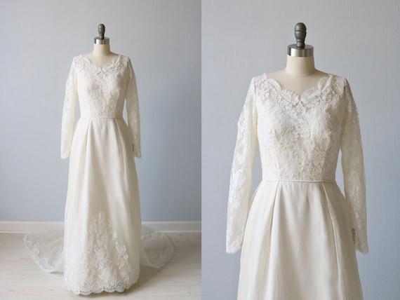 Vintage 1960s Long Sleeve Lace A Line Wedding Dress / 1960s