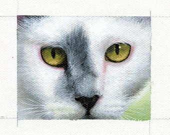 Tiny Art Original Framed Painting - Lucy the Barn Cat