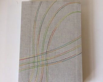 Rainbow Ribbon Stich Tan Spanish Linen Journal