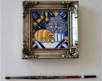 Miniature Tabby Cat painting, Original acrylic canvas, Hydrangeas, yellow tulips, still life, silver frame, French Country Decor, gift idea