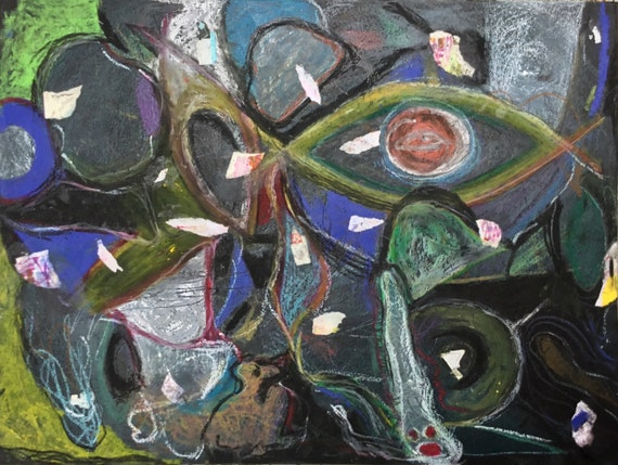 Sea Association, Mixed Media Drawing on Paper, Non-Objective Art, Dark Palette, Mounted on Wood Panel