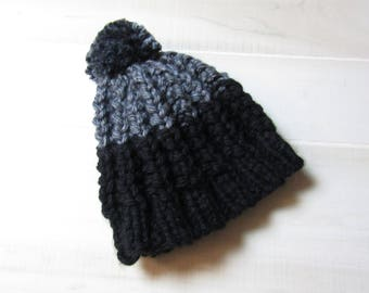 Child Hat Black and Gray Grey Toddler to Teen Years Size Ready to Ship