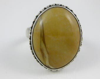 Size 9 Vintage Oval Brown Jasper Sterling Silver Ring