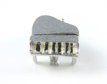 Charm, Sterling Silver, Grand Piano Charm, Musical Silver Charm, Hobby Jewelry, Movable Parts, Band Charm, 925