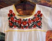 Girl Mexican dress, Cotton Mexican dress, Cinco de Mayo, Pinata Party, est. size 10 / 12