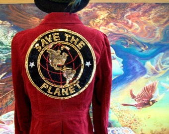SAVE the PLANET, Corduroy Jacket, Red Jacket, Up-Cycle, Red Corduroy Coat, size M