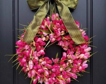 Pink Tulip Wreath - Coral Tulip Wreath - Spring Tulip Wreath