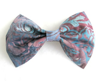 Blue and Purple Watercolor Fabric Hair Bow