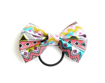 Neon Aztec Ponytail Hair Bow